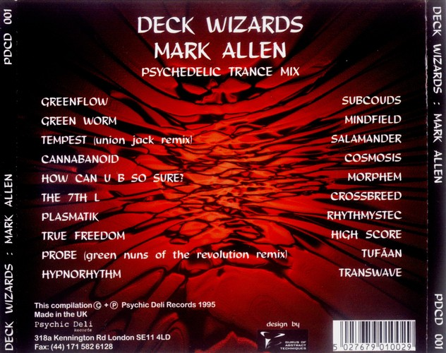 Various Artists - Deck Wizards 1 - Mark Allen - Psychedelic Trance Mix: Back