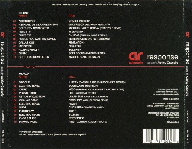 Various Artists - Response - Mixed By Ashley Casselle: Back